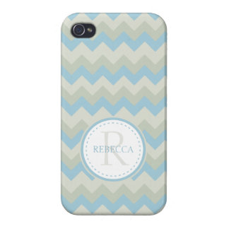 Monogram & Name Chevron Pale Blue iPhone 4/4S Cover