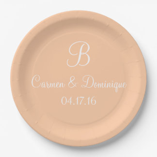 Monogram Name Date Deep Peach Paper Plate