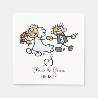 Monogram Name Date Wedding Couple Bride Groom Napkin