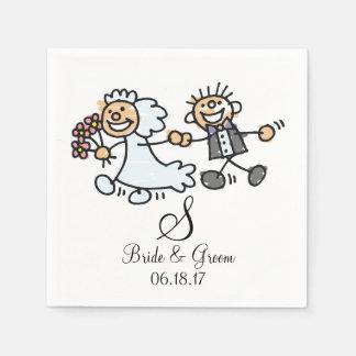 Monogram Name Date Wedding Couple Bride Groom Napkin