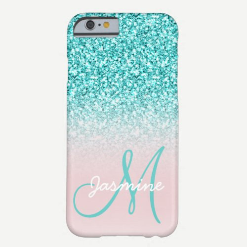 Monogram Name Girly Teal Glitter Pink Ombre Barely There iPhone 6 Case