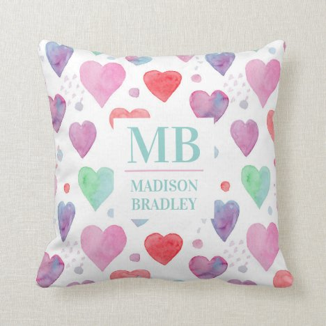 Monogram Name Love Heart Watercolor Girly Pattern Throw Pillow