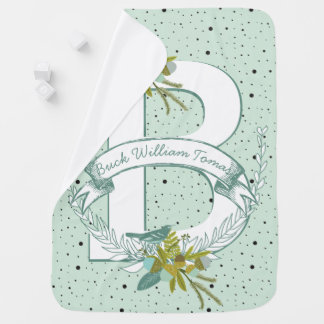 Monogram Name Minty Teal Garland Dalmatian Dots Swaddle Blanket