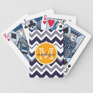 Monogram Name Navy Blue White Chevron Pattern Bicycle Playing Cards
