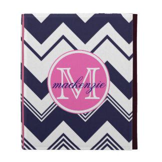 Monogram Name Navy Blue White Chevron Pattern iPad Cases