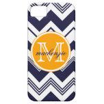 Monogram Name Navy Blue White Chevron Pattern iPhone 5 Cases