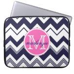 Monogram Name Navy Blue White Chevron Pattern Laptop Sleeves