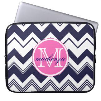 Monogram Name Navy Blue White Chevron Pattern Laptop Sleeve