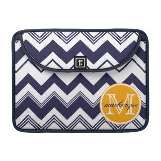 Monogram Name Navy Blue White Chevron Pattern MacBook Pro Sleeve