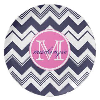 Monogram Name Navy Blue White Chevron Pattern Melamine Plate