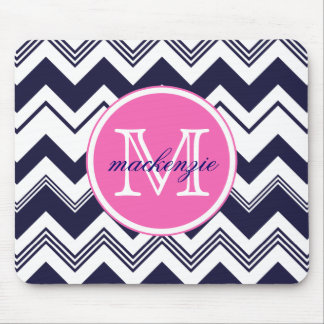 Monogram Name Navy Blue White Chevron Pattern Mouse Pad