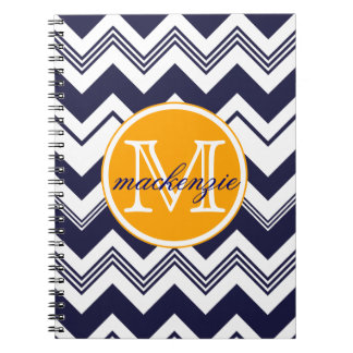 Monogram Name Navy Blue White Chevron Pattern Notebook