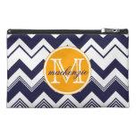 Monogram Name Navy Blue White Chevron Pattern Travel Accessory Bag