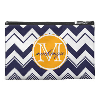 Monogram Name Navy Blue White Chevron Pattern Travel Accessory Bag