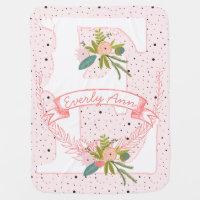 Monogram Name Peachy Pink Garland Dalmatian Dots Swaddle Blanket