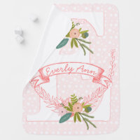 Monogram Name Peachy Pink Garland Lil' Lady Floral Receiving Blanket