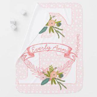 Monogram Name Peachy Pink Garland Lil' Lady Floral Receiving Blanket