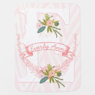 Monogram Name Peachy Pink Garland Zigzag Floral Stroller Blanket