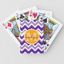 Monogram Name Purple White Chevron Pattern Bicycle Playing Cards