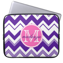 Monogram Name Purple White Chevron Pattern Laptop Sleeve
