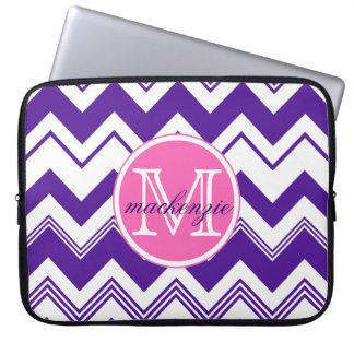 Monogram Name Purple White Chevron Pattern Laptop Sleeves