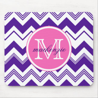 Monogram Name Purple White Chevron Pattern Mouse Pad