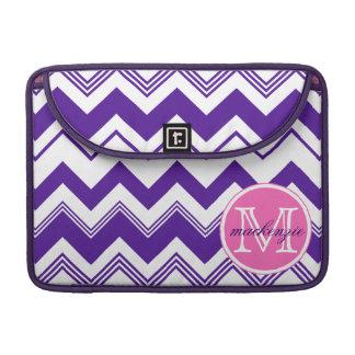 Monogram Name Purple White Chevron Pattern Sleeve For MacBook Pro