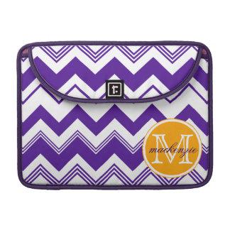 Monogram Name Purple White Chevron Pattern Sleeve For MacBooks