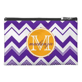Monogram Name Purple White Chevron Pattern Travel Accessories Bag