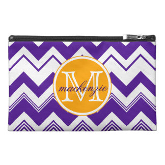Monogram Name Purple White Chevron Pattern Travel Accessory Bag