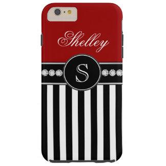 Monogram Name Red Black Stripes Pattern Tough iPhone 6 Plus Case
