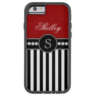 Monogram Name Red Black Stripes Pattern Tough Xtreme iPhone 6 Case