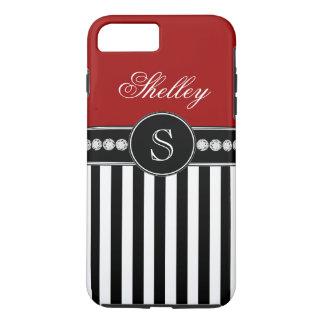 Monogram Name Red Black Stripes Pattern iPhone 7 Plus Case