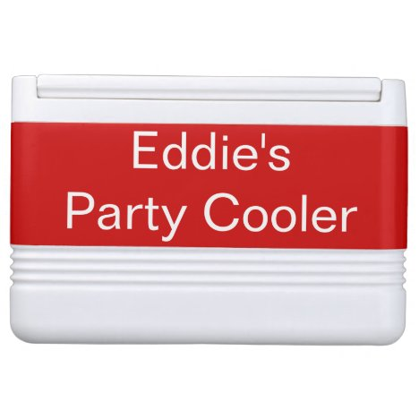 Monogram Name Red Drink Cooler