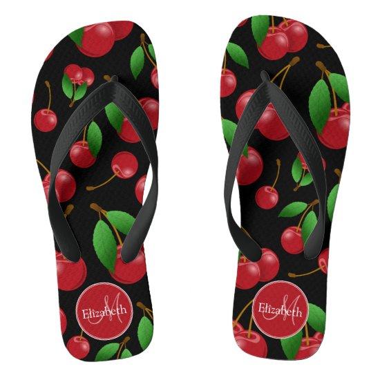 monogram name sweet red cherries pattern on black flip flops