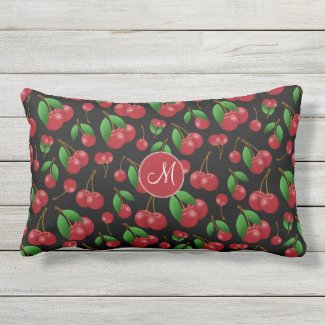 monogrammed sweet summertime cherries patterned outdoor fabric pillow
