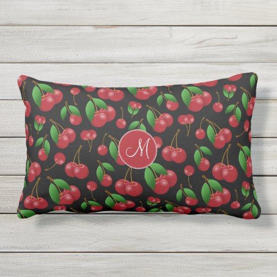 monogram name sweet summertime cherries patterned lumbar pillow