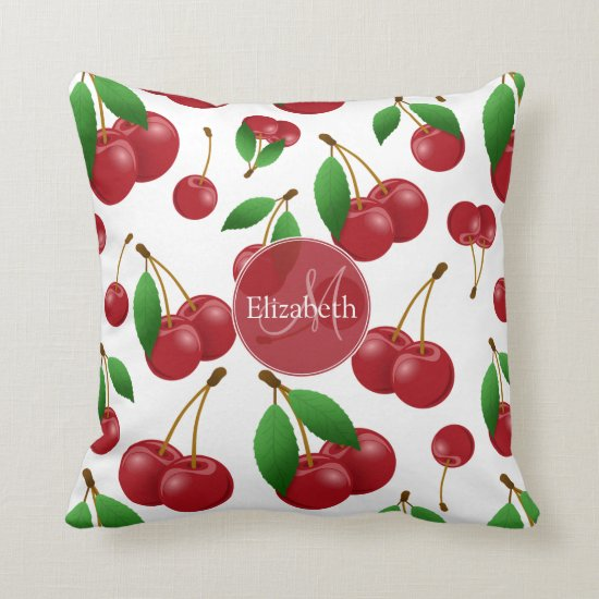 monogram name sweet summertime cherries patterned throw pillow