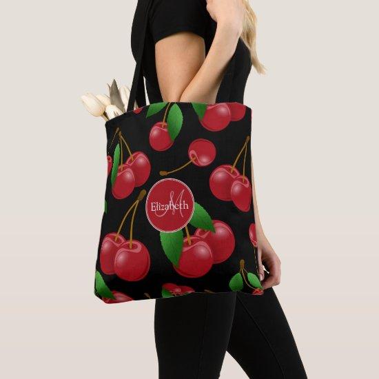 monogram name sweet summertime cherries patterned tote bag