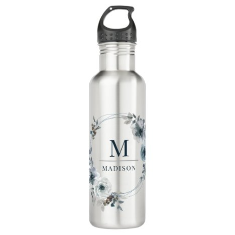 Monogram Name Watercolor Floral Pretty Girly Chic Stainless Steel Water Bottle