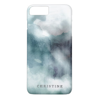 Monogram name watercolor hipster blue nautical iPhone 7 plus case