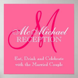 Monogram Name Wedding Reception Sign Pink Print