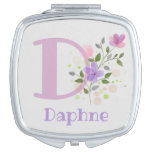 Monogram & Name with Flowers Compact Mirror