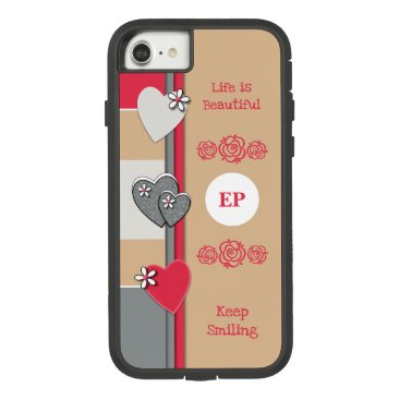 Monogram name with love hearts brown red Case-Mate tough extreme iPhone 8/7 case