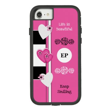 Monogram name with love hearts pink and black Case-Mate tough extreme iPhone 8/7 case