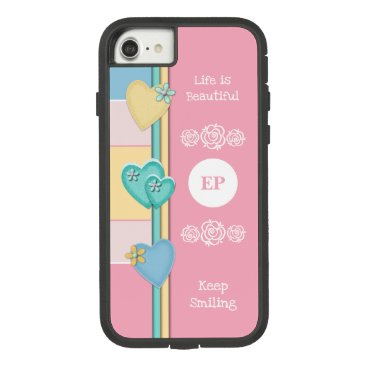 Monogram name with love hearts pink blue Case-Mate tough extreme iPhone 8/7 case