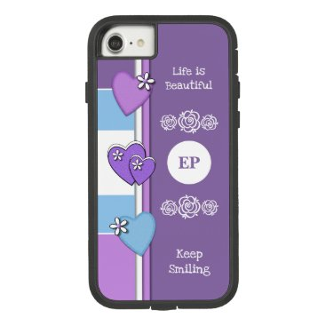 Monogram name with love hearts purple blue Case-Mate tough extreme iPhone 8/7 case