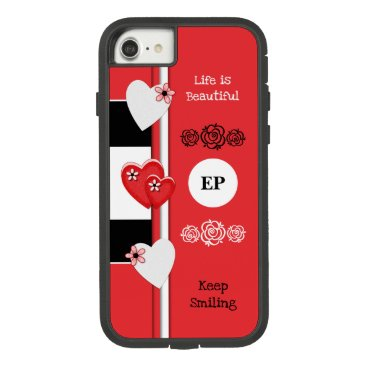 Monogram name with love hearts red and black Case-Mate tough extreme iPhone 8/7 case