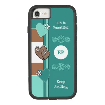Monogram name with love hearts turquoise brown Case-Mate tough extreme iPhone 8/7 case