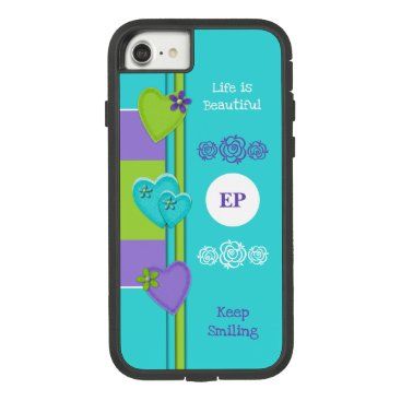 Monogram name with love hearts turquoise purple Case-Mate tough extreme iPhone 8/7 case